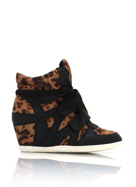 Leopard Wedge Sneakers BLACKLEO