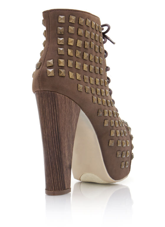 Studded Chunky Booties BROWN