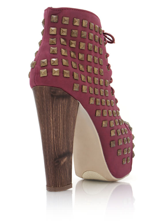 Studded Chunky Booties WINE