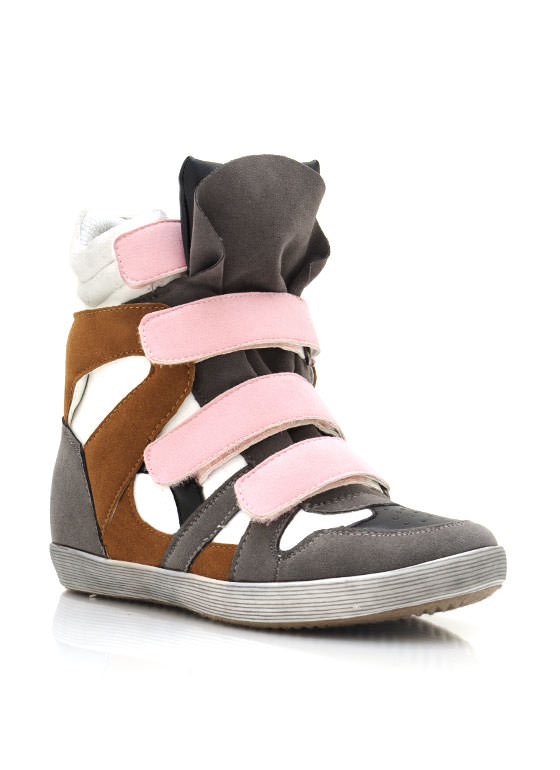 Suede Wedge Sneakers GREY