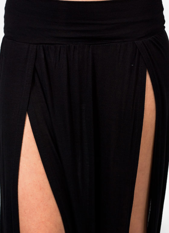 Double Slit Maxi Skirt BLACK