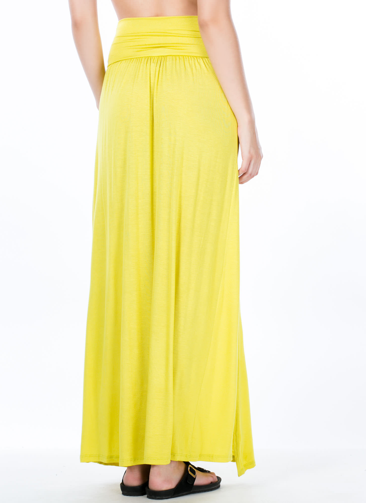 Double Slit Maxi Skirt CITRON