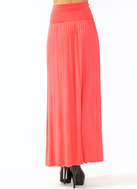 Double Slit Maxi Skirt CORAL