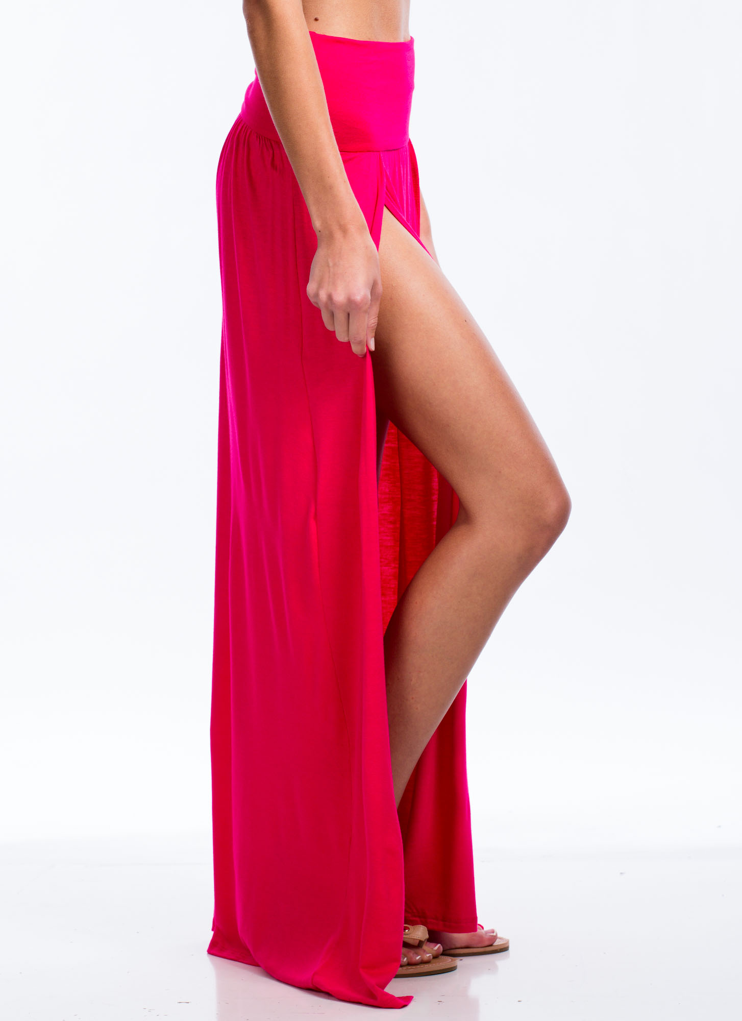 Double Slit Maxi Skirt FUCHSIA