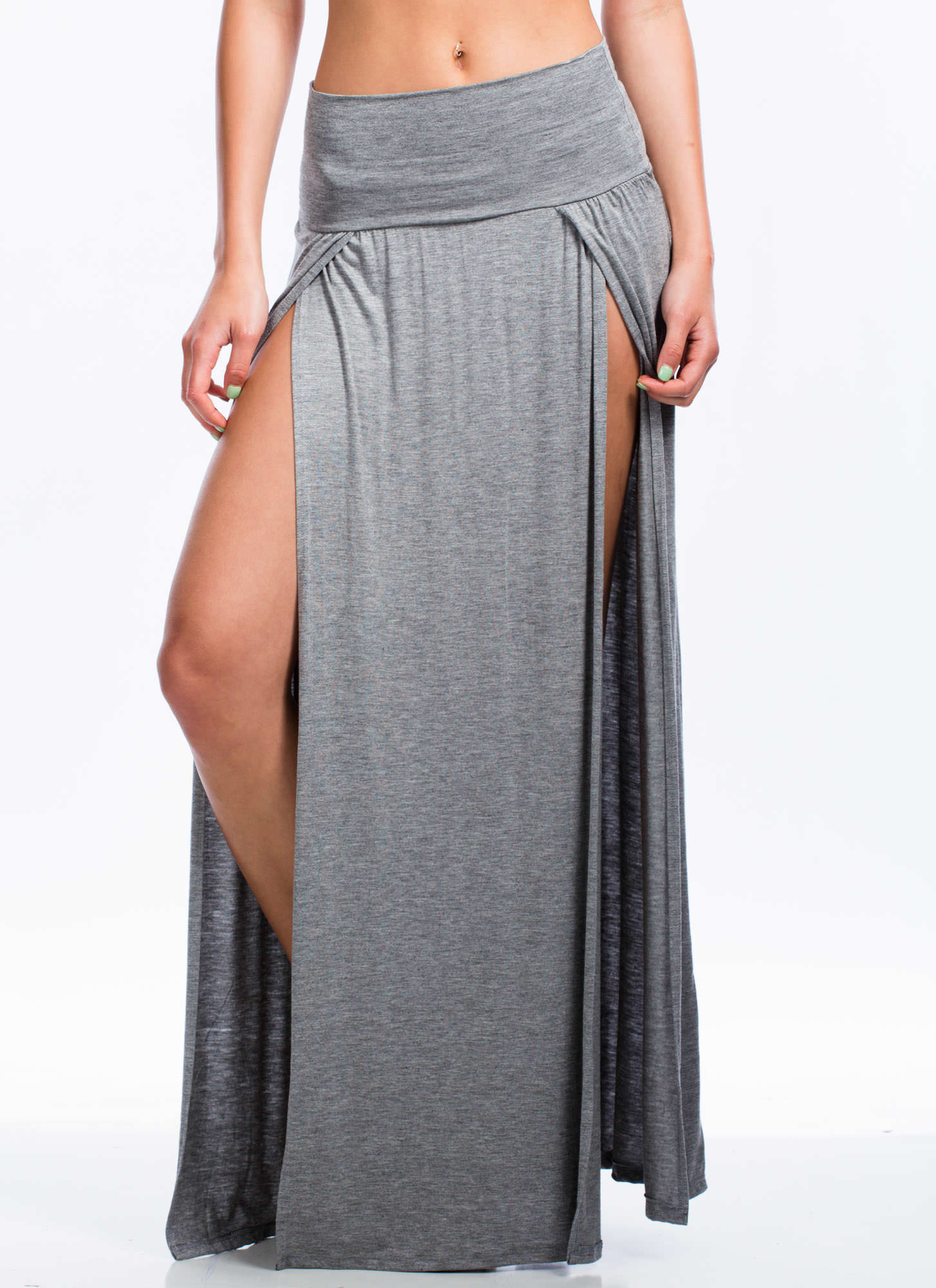 Double Slit Maxi Skirt HGREY