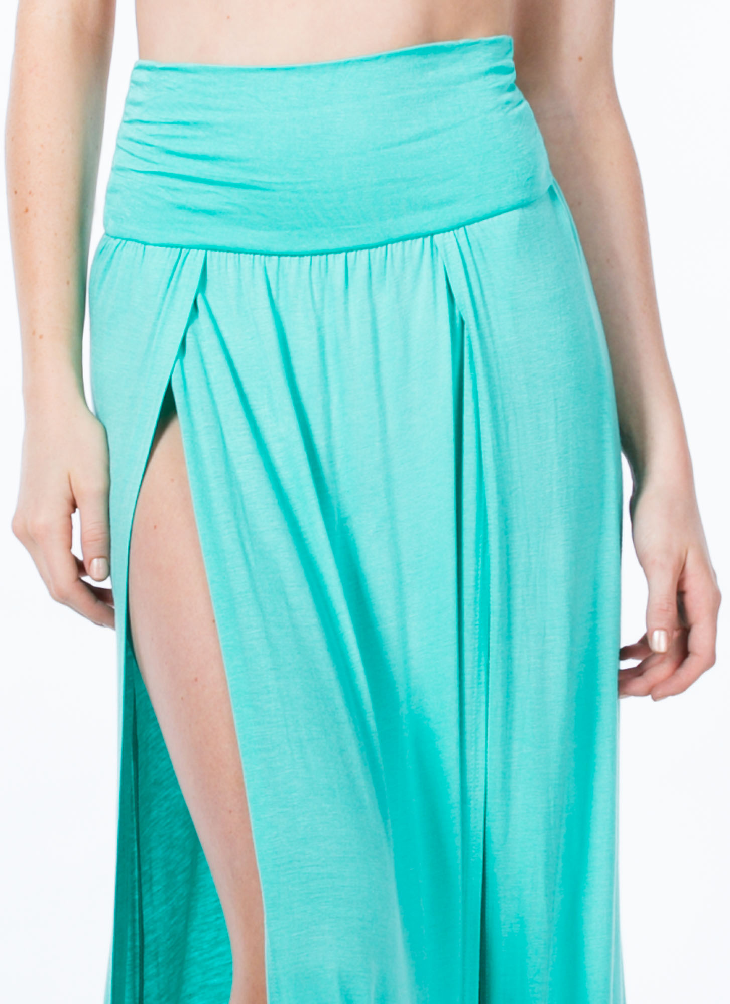 Double Slit Maxi Skirt MINT