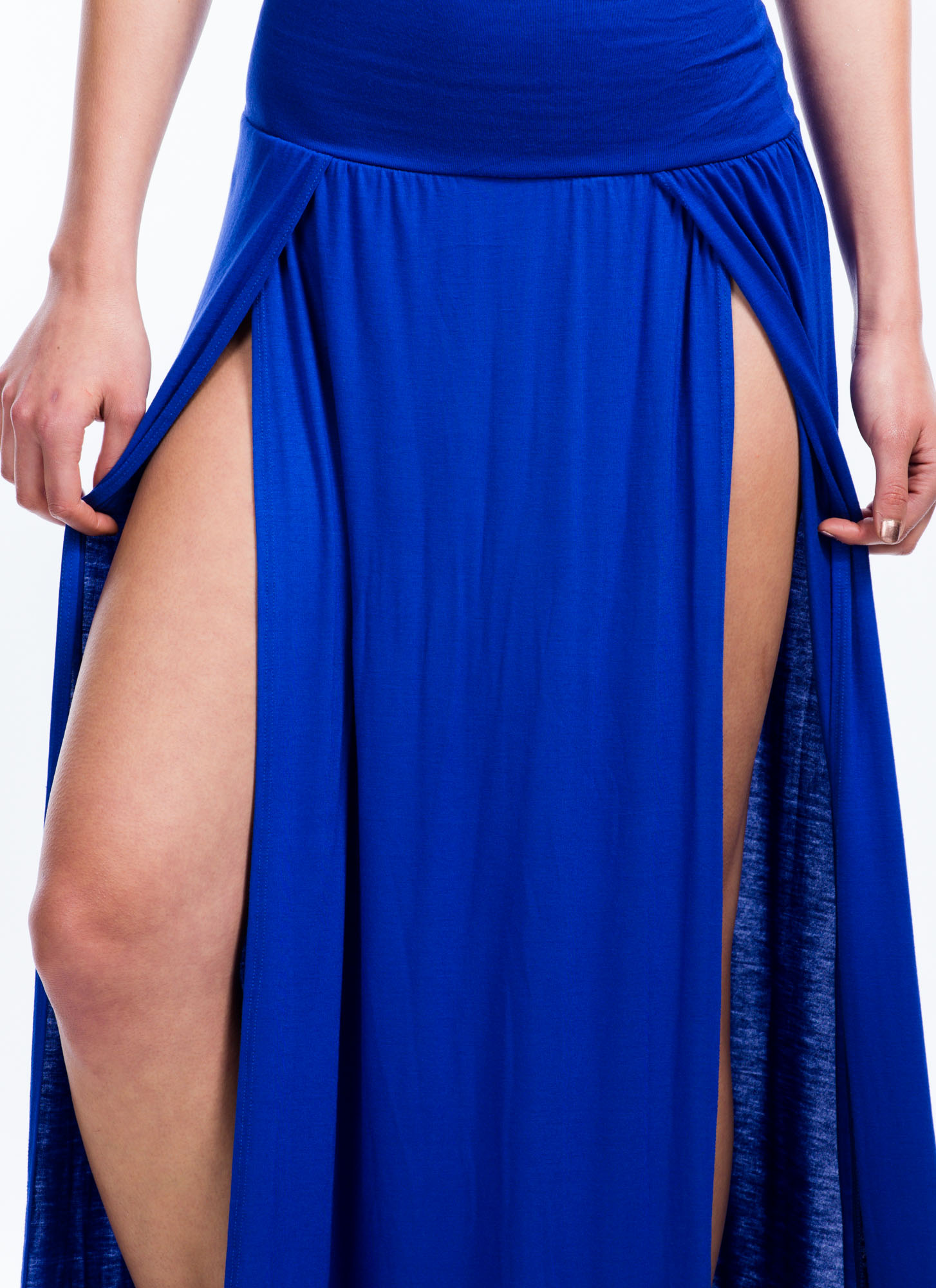 Double Slit Maxi Skirt ROYAL