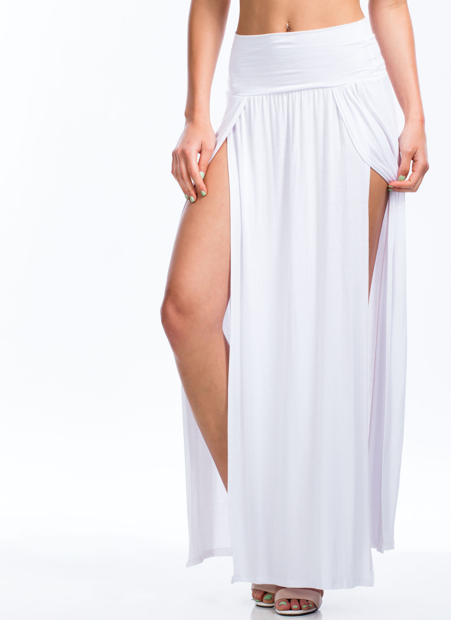 Double Slit Maxi Skirt WHITE