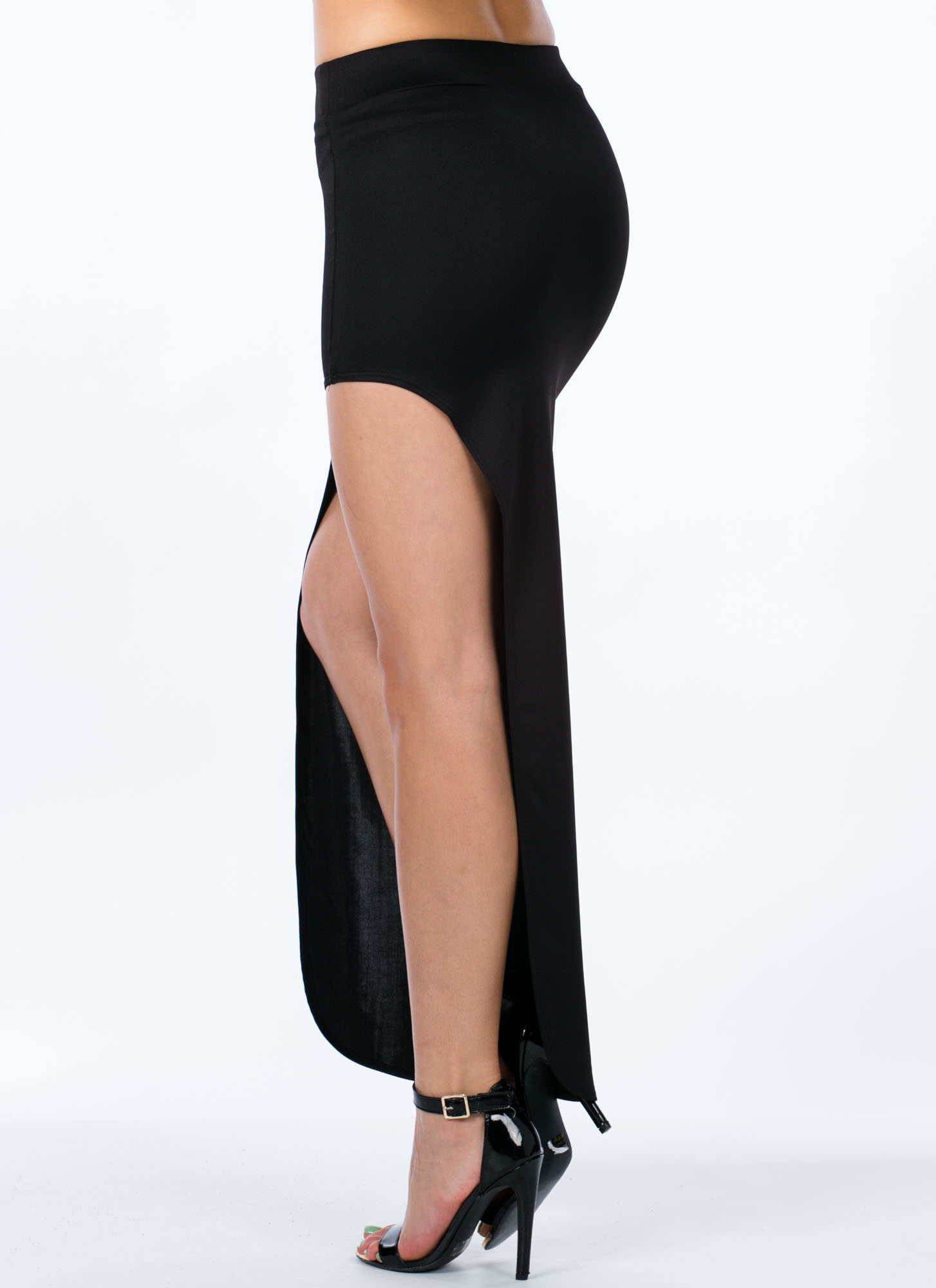 Cut Out Maxi Skirt BLACK