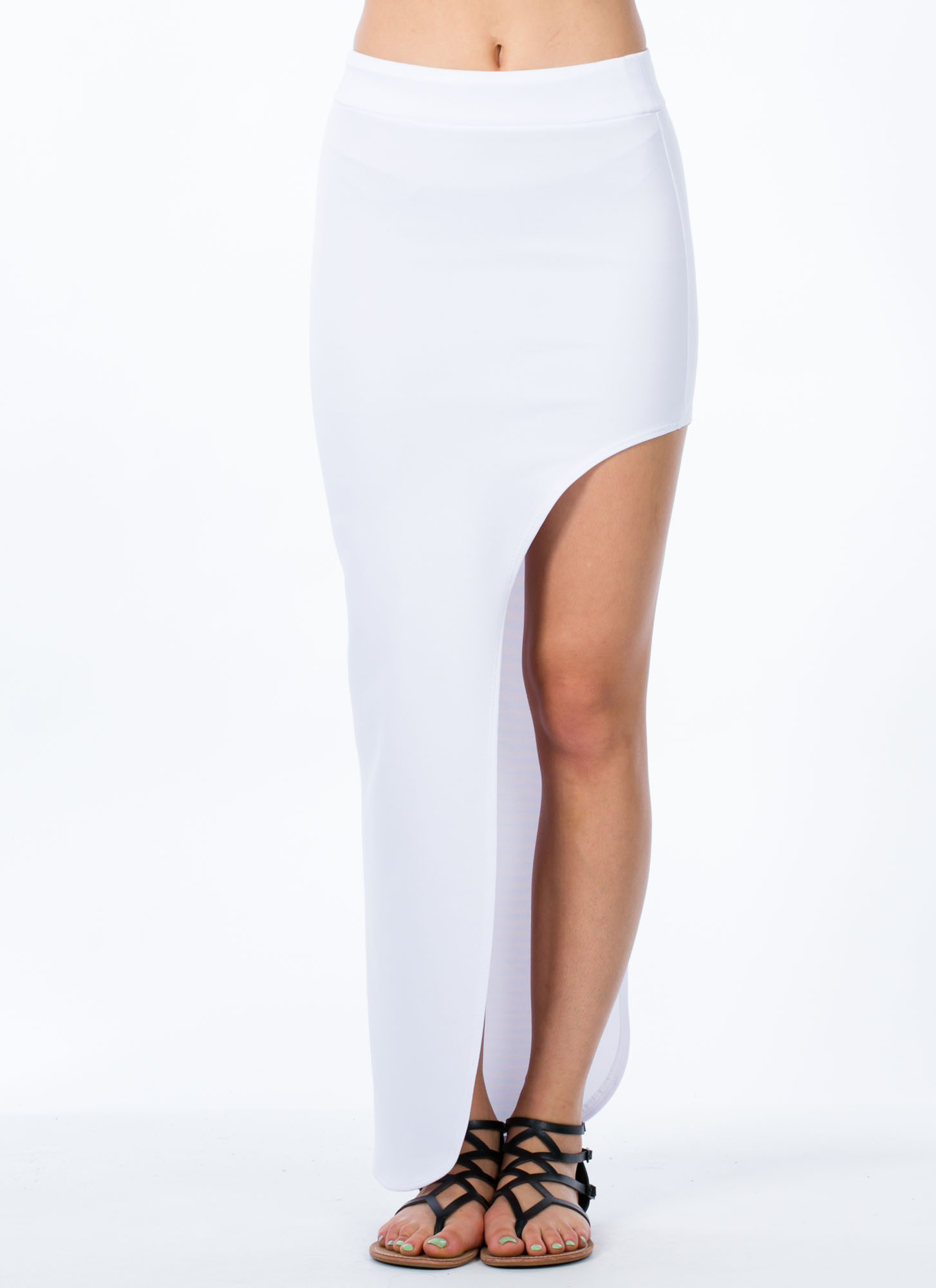 Cut Out Maxi Skirt WHITE