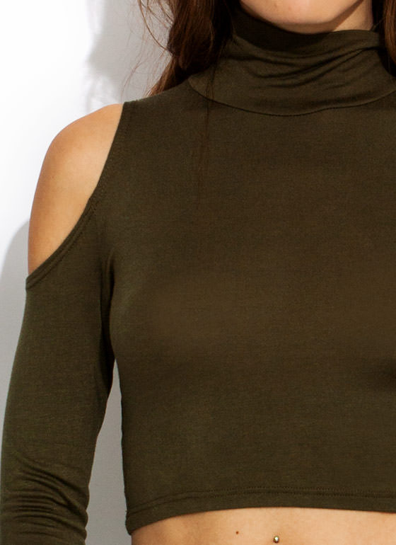 Cold Shoulder Turtleneck Cropped Top OLIVE
