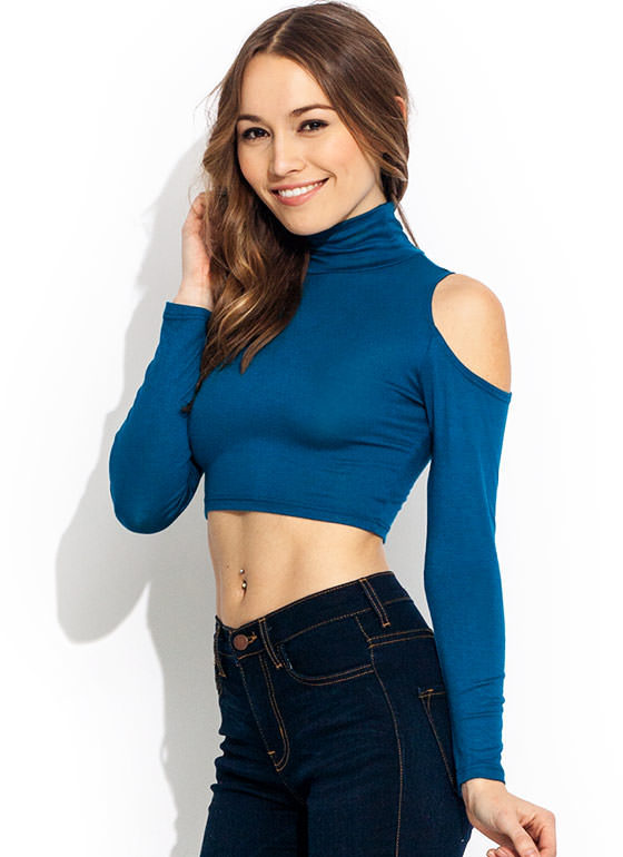Cold Shoulder Turtleneck Cropped Top TEAL