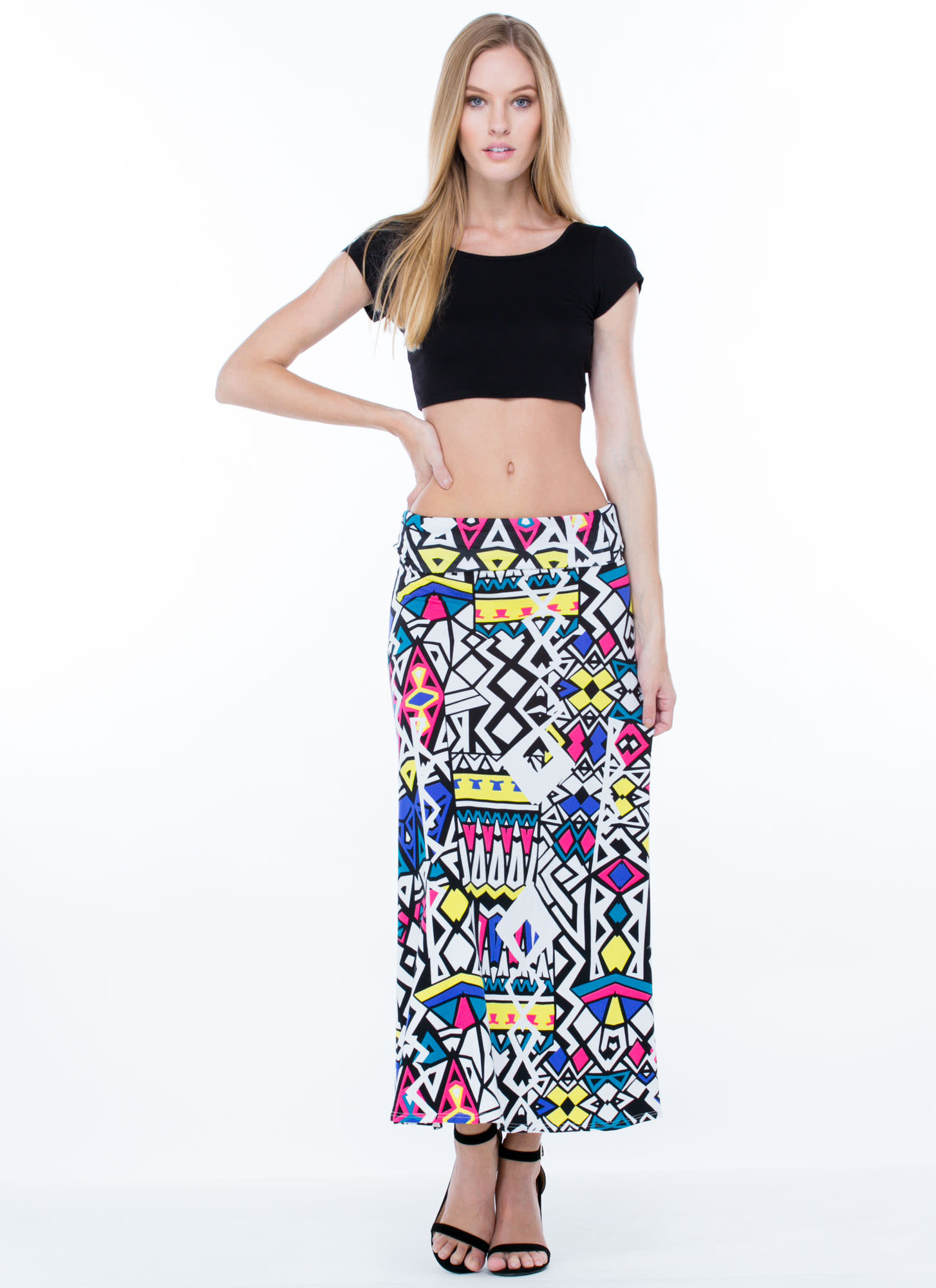 Hello Midriff Scoop Back Cropped Top BLACK