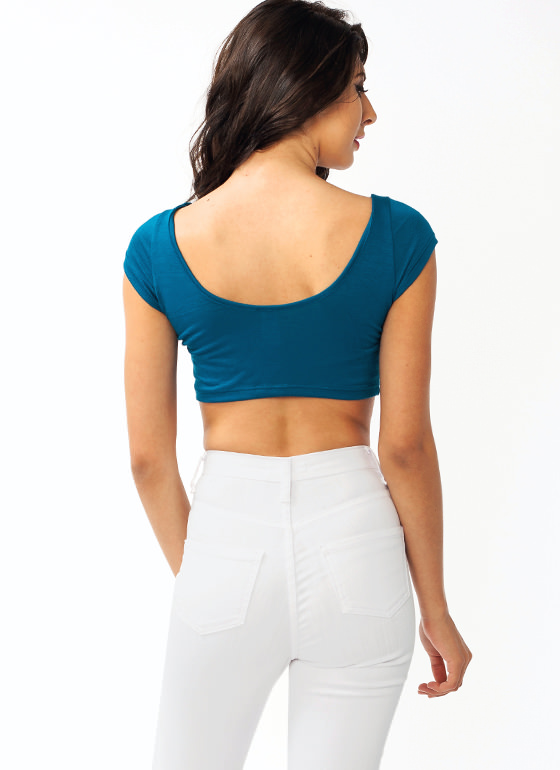 Hello Midriff Scoop Back Cropped Top TEAL