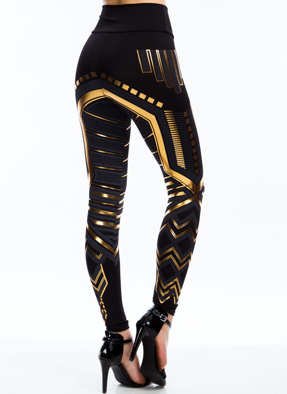 High Waisted Metallic Printed Leggings BLACK