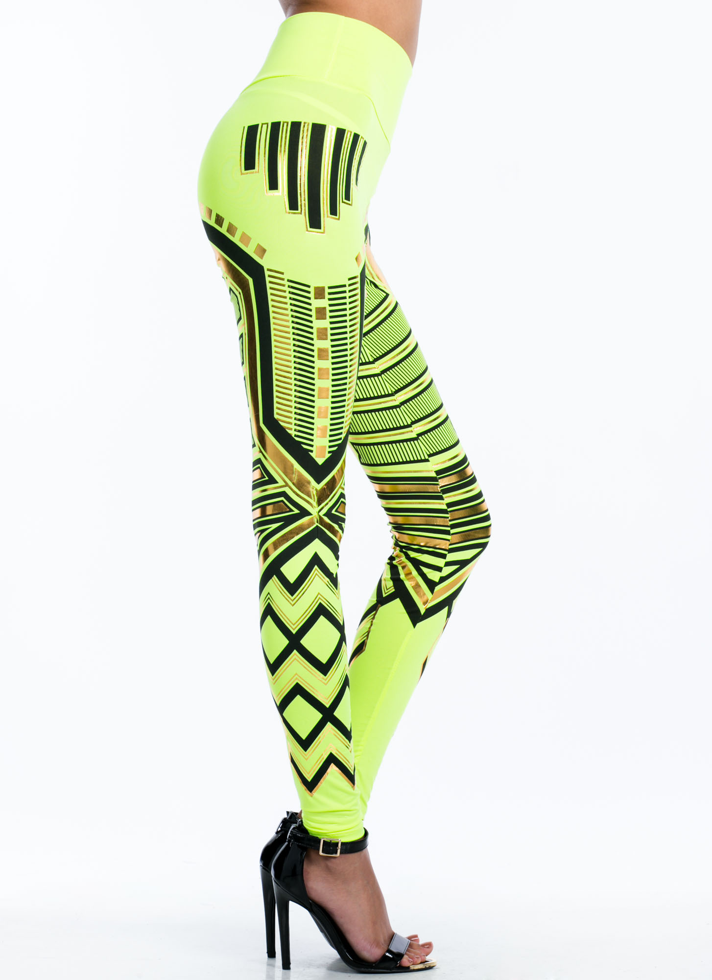 High Waisted Metallic Printed Leggings NEONGREEN