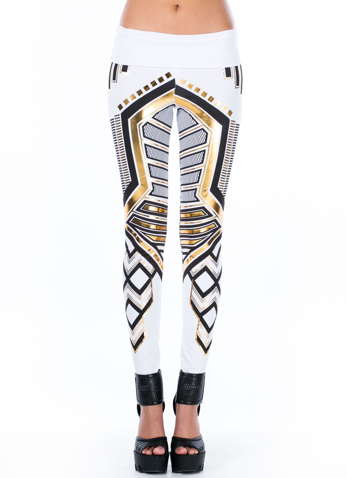 High Waisted Metallic Printed Leggings WHITE