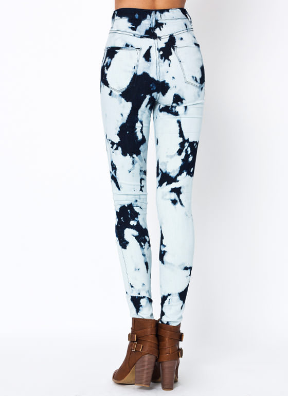 High Waisted Bleached Jeans DKBLUE