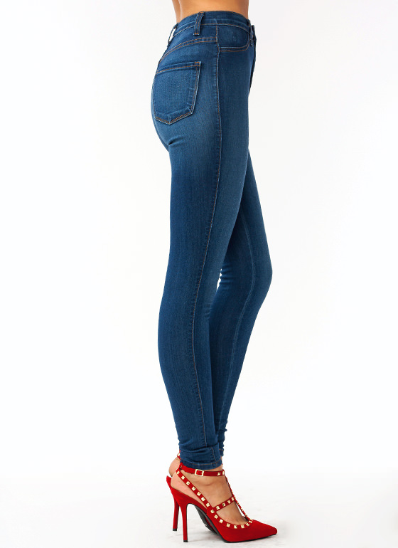High-Waisted Skinny Jeans BLUE