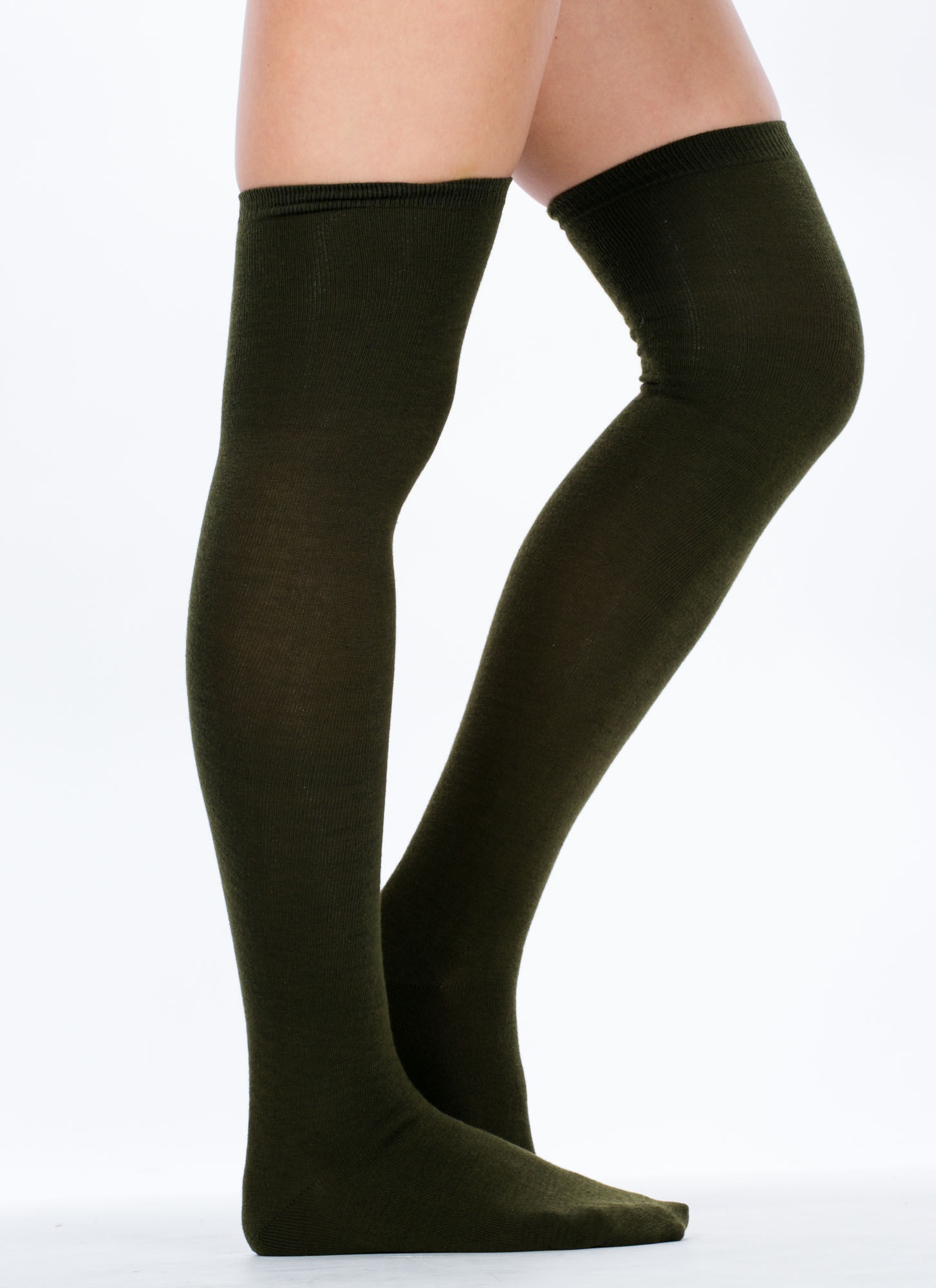 Thigh-High Socks OLIVE