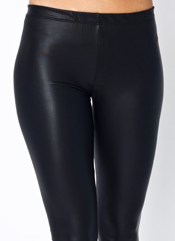 Faux Leather Leggings BLACK