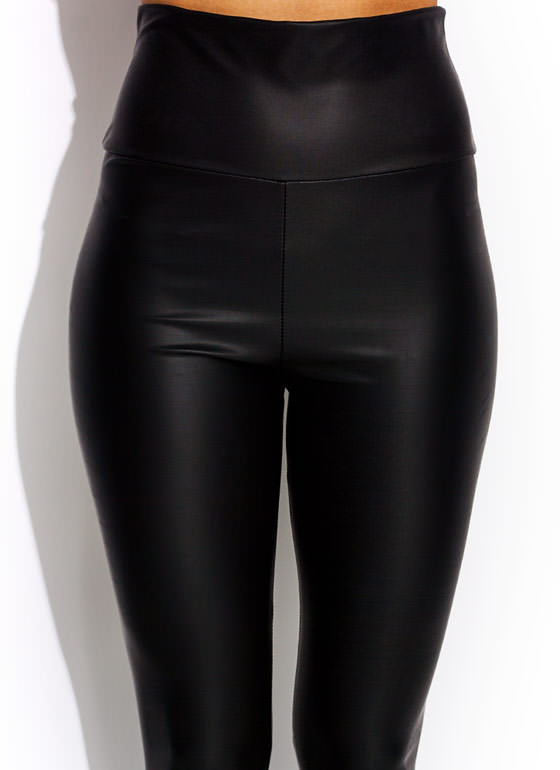 High Waisted Faux Leather Leggings BLACK