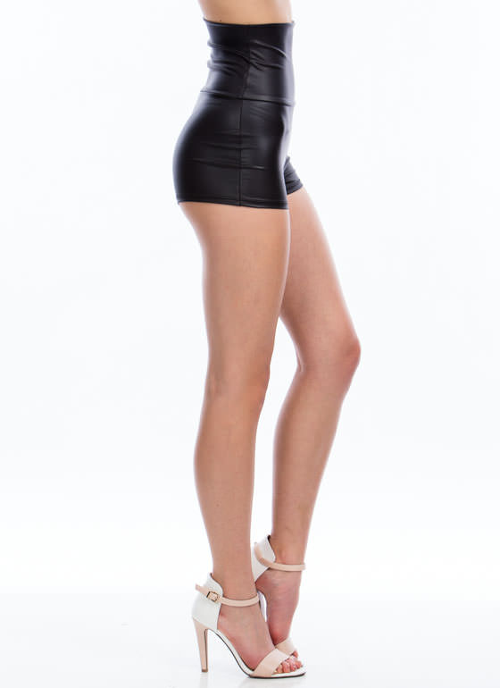 High-Waisted Faux Leather Shorts BLACK