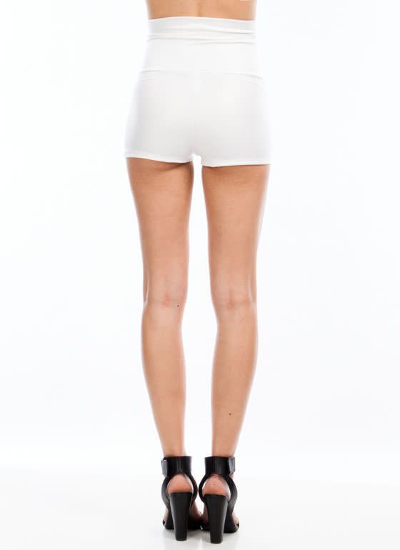 High-Waisted Faux Leather Shorts WHITE