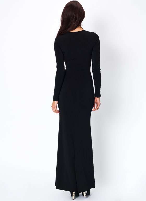 Mesh Inset Maxi Dress BLACK