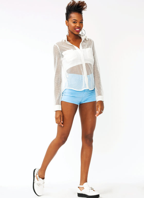 High Waisted Denim Shorts LTBLUE