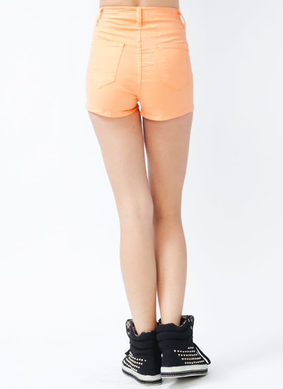 High Waisted Denim Shorts PEACH