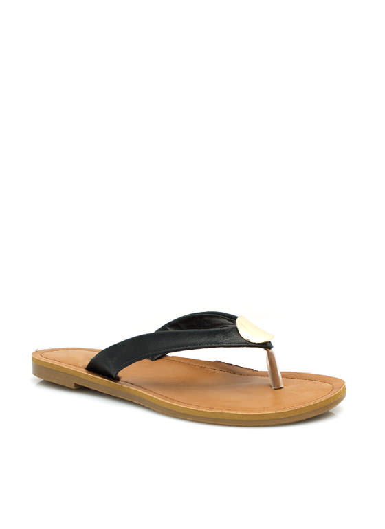 Faux Leather Sandals BLACK