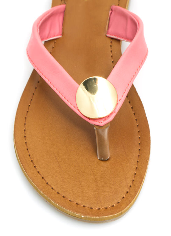 Faux Leather Sandals CORAL