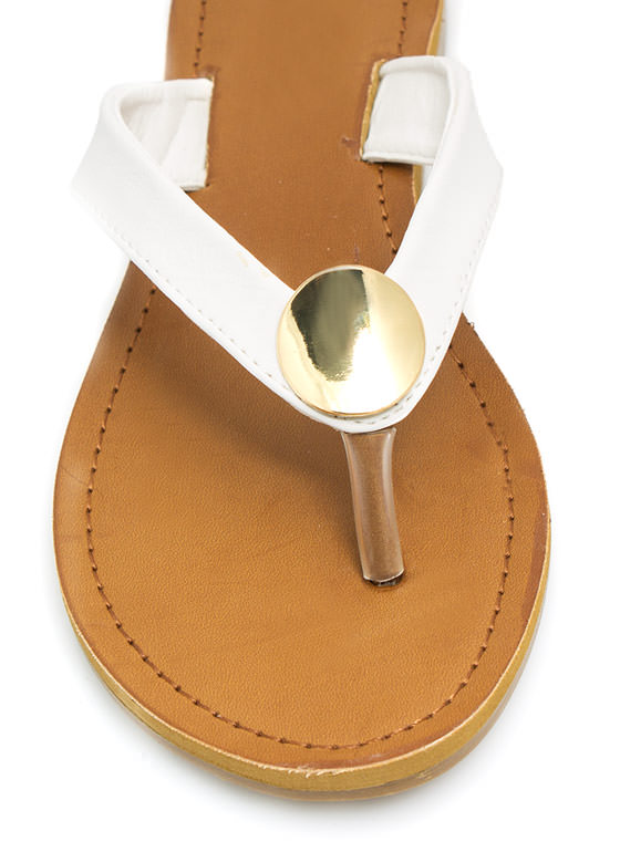 Faux Leather Sandals WHITE