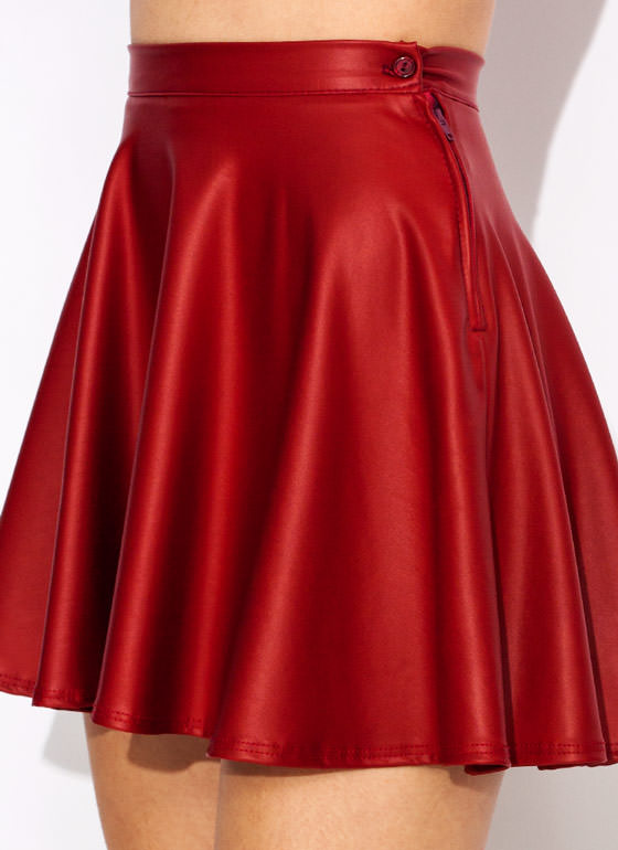 Faux Leather Skater Skirt RED