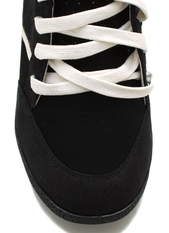Lace Up Wedge Sneakers BLACK