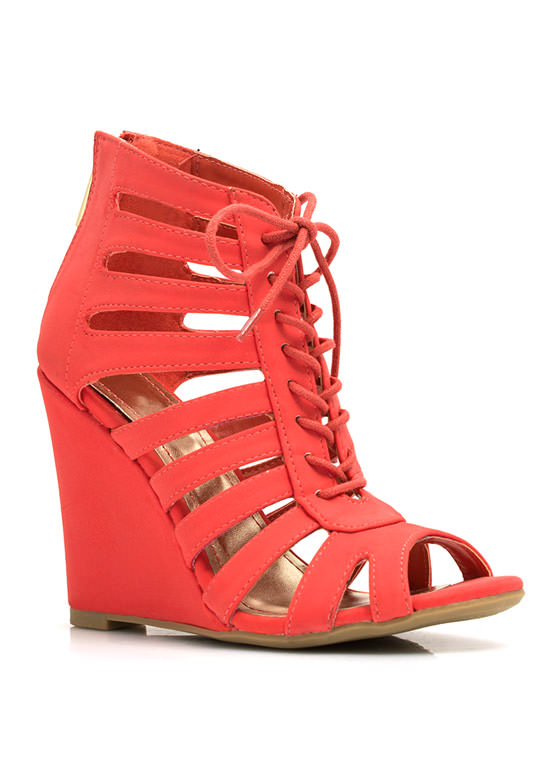 Lace-Up Cut-Out Wedges CAYENNE