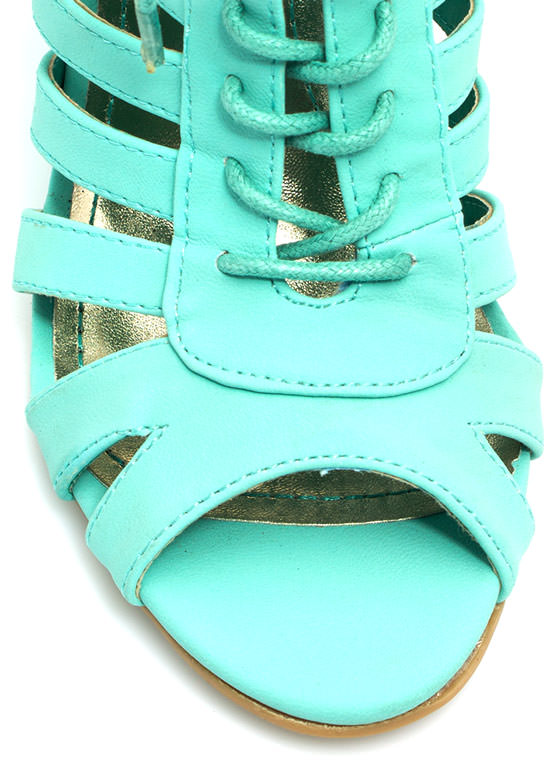 Lace-Up Cut-Out Wedges MINT