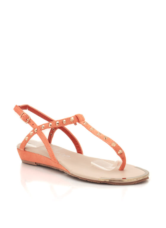 Spiked Wedge Sandals PEACH