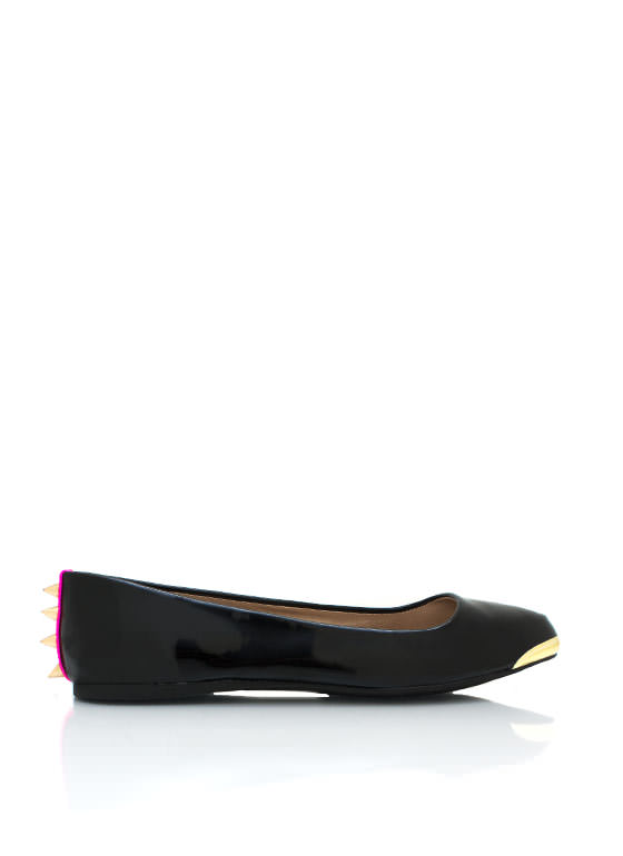 Spiked Pointy Toe Flats BLACK