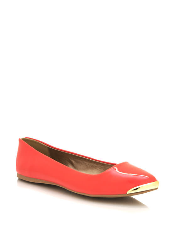 Spiked Pointy Toe Flats CORAL