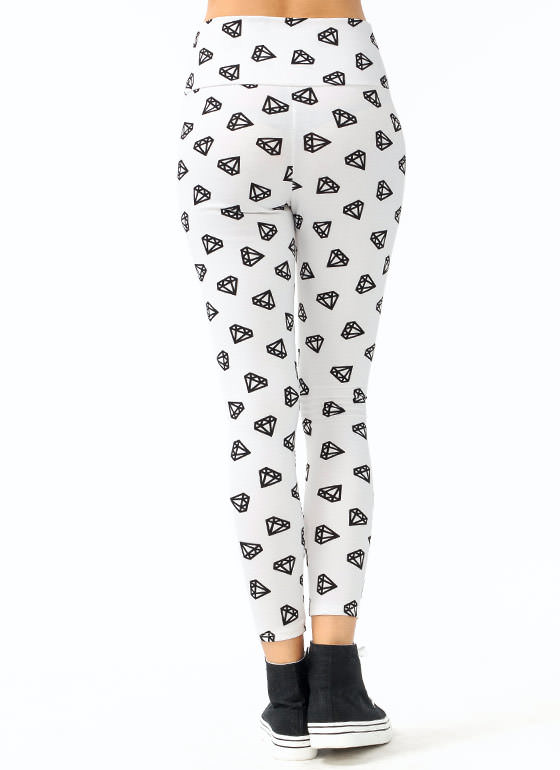 High Waisted Diamond Printed Leggings IVORYBLACK