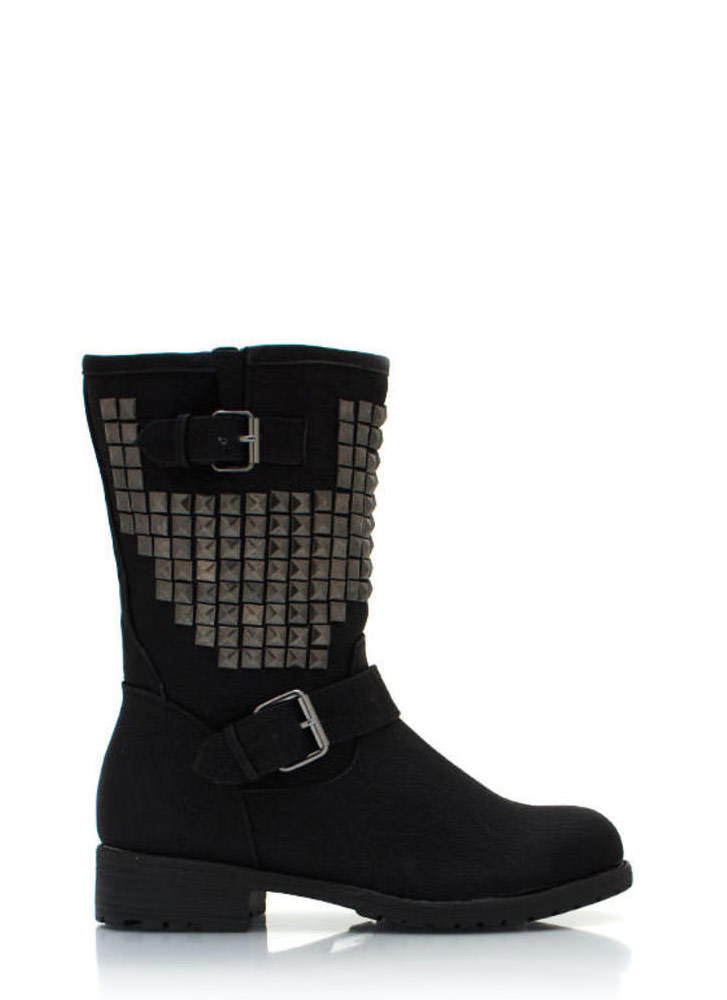 Studded Buckle Boots BLACK