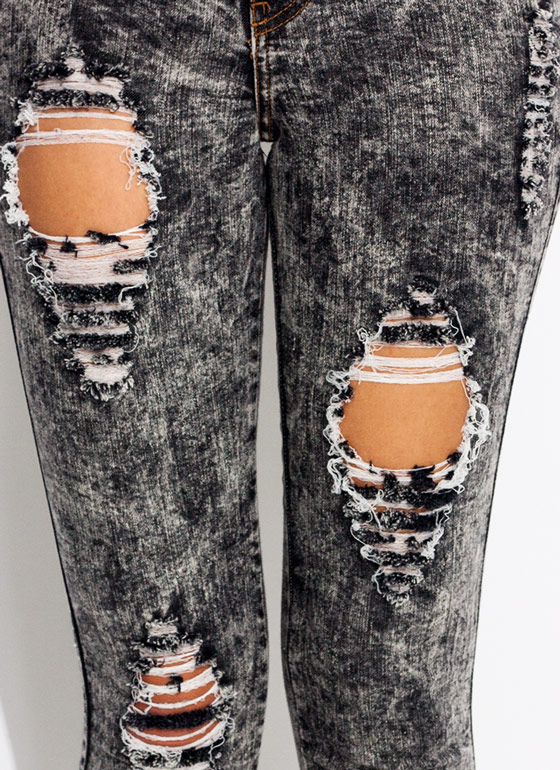 Distressed Acid Wash Jeans BLACK