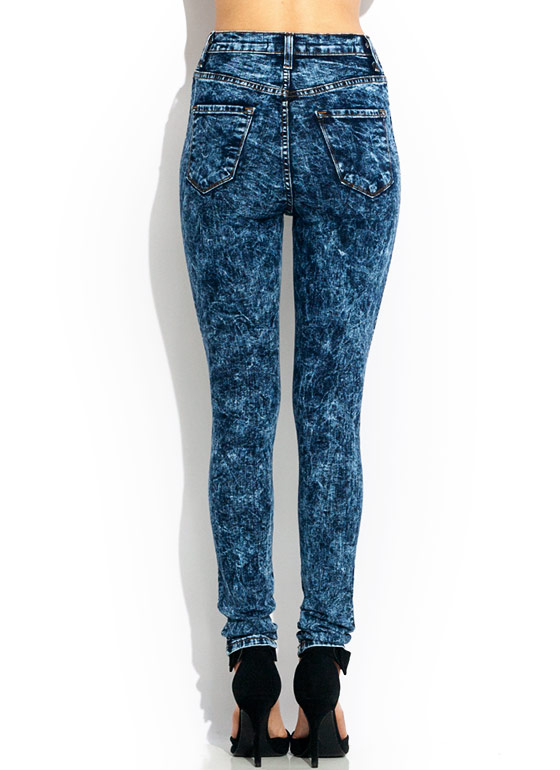 Distressed Acid Wash Jeans DKBLUE