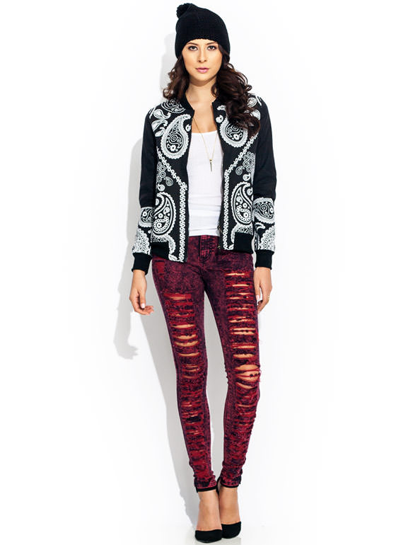 High-Waisted Distressed Jeans BURGUNDY