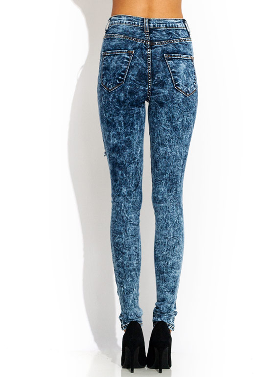 High-Waisted Distressed Jeans DKBLUE