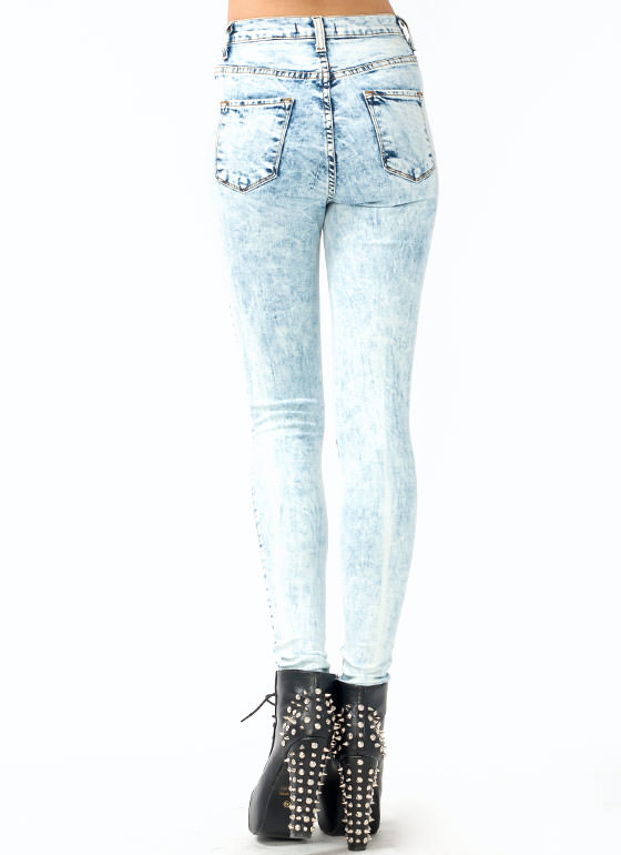 High-Waisted Distressed Jeans LTBLUE