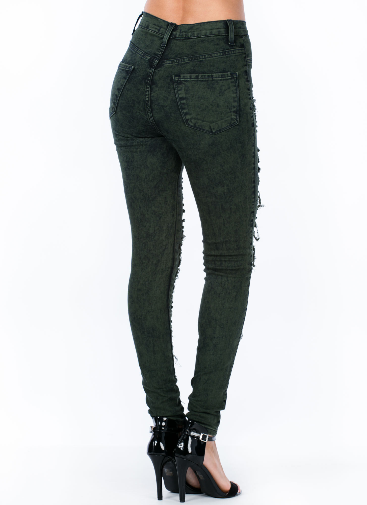 High-Waisted Distressed Jeans OLIVE