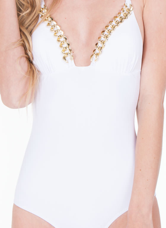 Chain Link Swimsuit WHITE